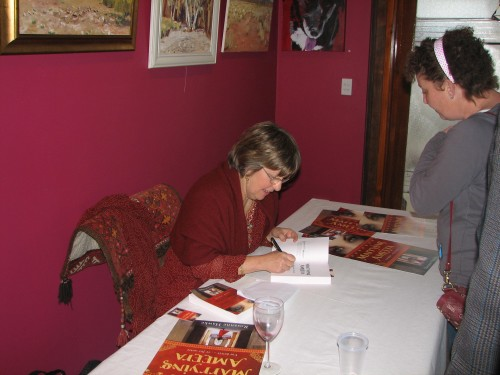 """Rosanne Hawke signing copies of """"Marrying Ameera"""""""