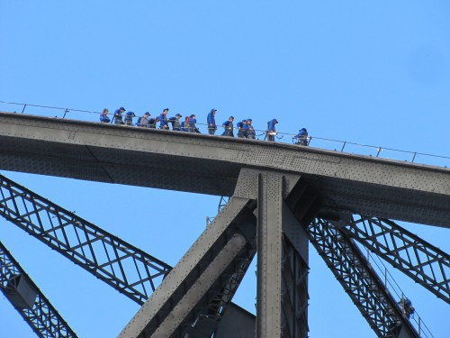 "People doing the ""Bridge climb"" in Sydney"